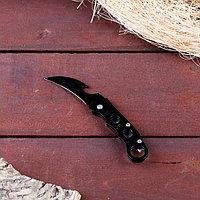 """Нож-керамбит """"Круги"""", черная рукоять, лезвие 6 см"""