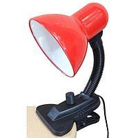 Лампа настольная UT-102А на прищепке, 1х40Вт Е27, диммир., красный d=11,5см, h=27 см