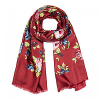 Палантин женский, цвет бордовый/принт цветы, размер 90х180