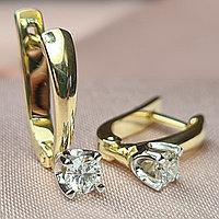 Золотые серьги с бриллиантами 0.40Ct VS2/K