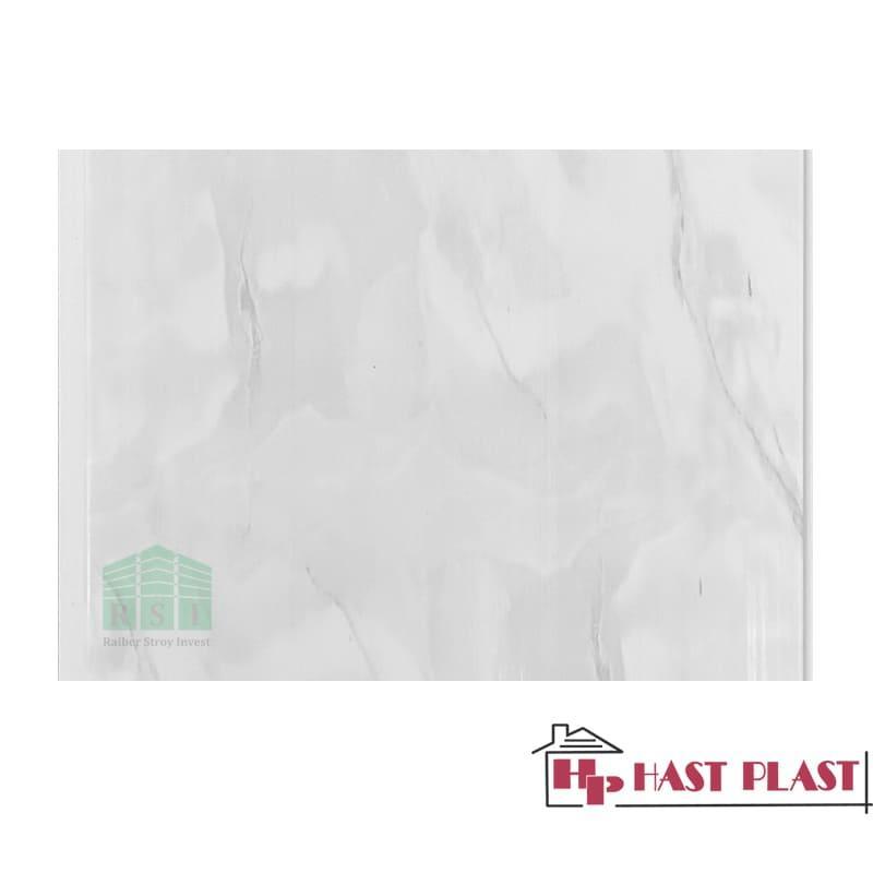 """Стеновая ПВХ панель """"Hast Plast"""" 4 метра (серый мрамор глянцевый)"""