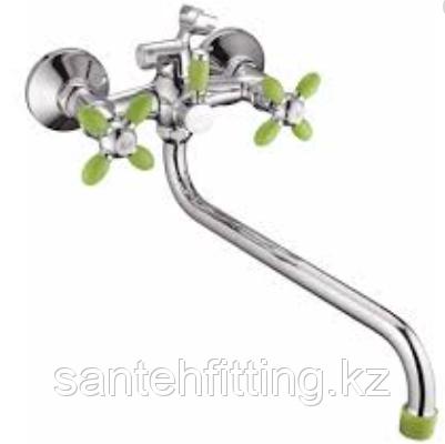 ZERIX  Смеситель для ванны с длинным изливом (цвет зеленый)