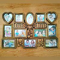"Фоторамка ""LOVE/LOVE"", на 12 фото, бронзовая"
