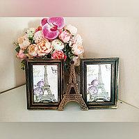 """Фоторамка """"Париж"""" на 2 фото, бронза"""