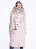 Пальто зимнее, 40-50, букле, песец, пудровое