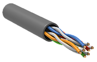 ITK Кабель связи витая пара U/UTP, кат.5E 4х2х24AWG solid, PVC, 305м, серый