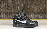 Кроссовки зимние Nike Air Force 1 Utility Mid Black (+Мех)