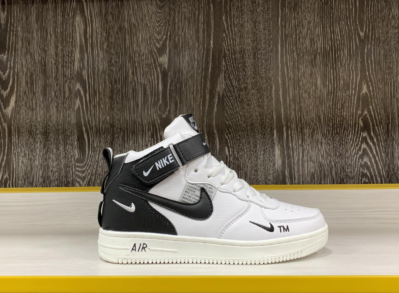 Кроссовки зимние Nike Air Force 1 Utility Mid White (+Мех)
