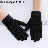 Перчатки для рук зимние сенсорные из овечьей шерсти черного цвета