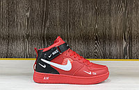 Кроссовки зимние Nike Air Force 1 Utility Mid Red (+Мех)