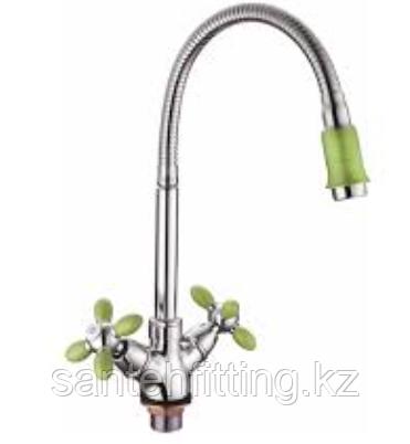 ZERIX LR84310G Смеситель для кухни с гибким изливом (цвет зеленый) (10 шт/ящ)