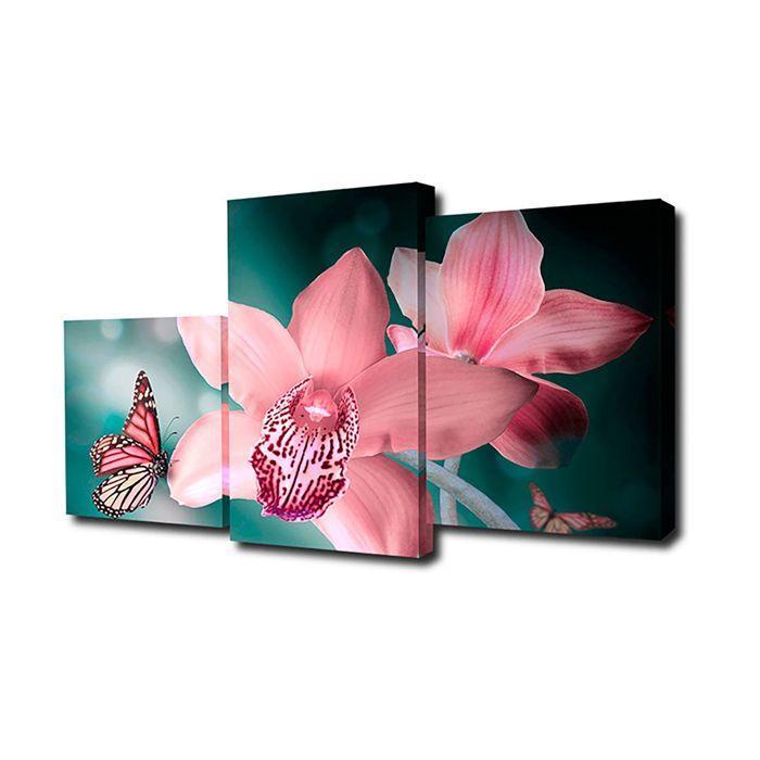 """Модульная картина на подрамнике """"Бабочка с орхидеями"""", 26×50, 26×40, 26×32. 50×80 см"""