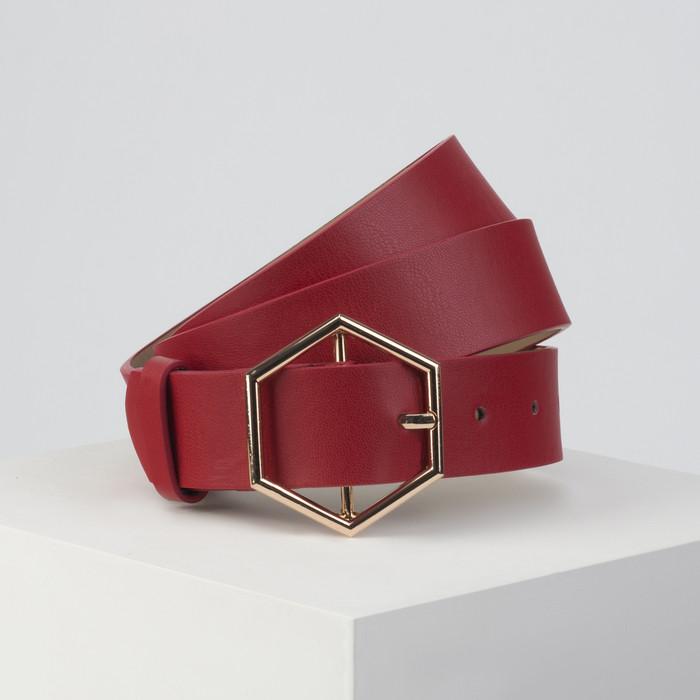 Ремень женский, ширина 3,5 см, пряжка золото, цвет красный