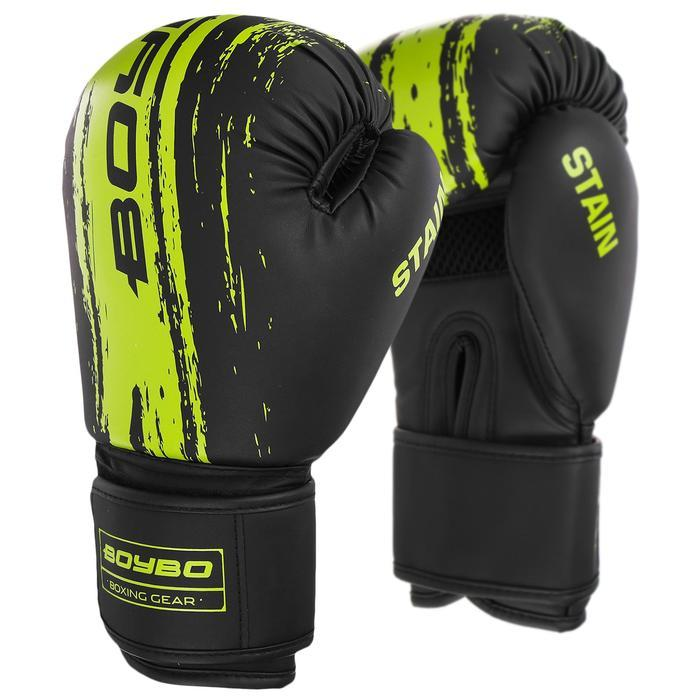Перчатки боксёрские BoyBo Stain, флекс, цвет зелёный, 12 унций