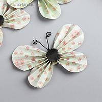 """Декор для творчества """"Зеленые бабочки в цветочек"""" набор 3 шт 5х8,5 см"""