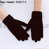 Перчатки для рук зимние сенсорные из овечьей шерсти коричневого цвета