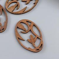 Декор для творчества дерево 'Распустившийся цветок' бронза набор 5 шт 4,6х2,9 см