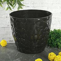 Кашпо с поддоном IDEA «Камни», 2,6 л, d=18 см, цвет коричневый