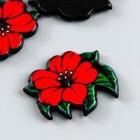 Декор для творчества пластик 'Красная лилия' набор 8 шт 1,8х2,2 см