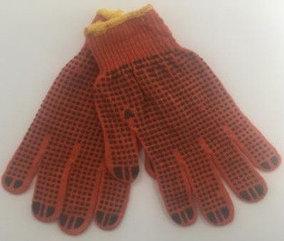 Перчатки х/б с пвх 10 класс, красные Маркет