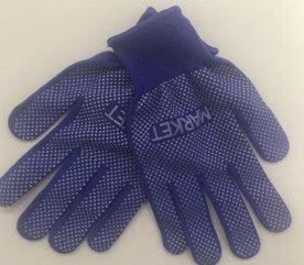 Перчатки с микроточками , синие