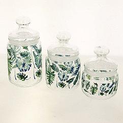 Набор банок для сыпучих продуктов стеклянных ''tropical foliage''