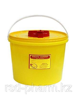 Емкость-контейнер для сбора острого инструментария, емк. 10,0 л.класса Б, желтого цвета, фото 2
