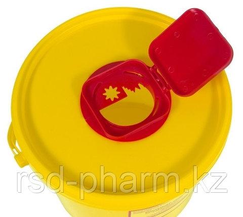 Емкость-контейнер для сбора острого инструментария, емк. 6,0 л.класса Б, желтого цвета, фото 2