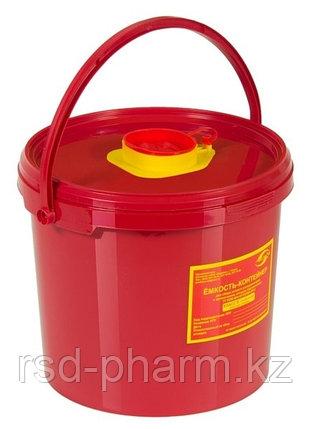 Емкость-контейнер для сбора острого инструментария, емк. 6,0 л.класса В, красного цвета, фото 2
