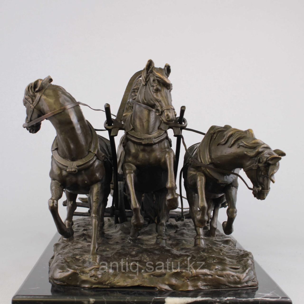 Солдаты на русской тройке. По модели известного скульптора Е. И. Напс (1848-1886) - фото 4