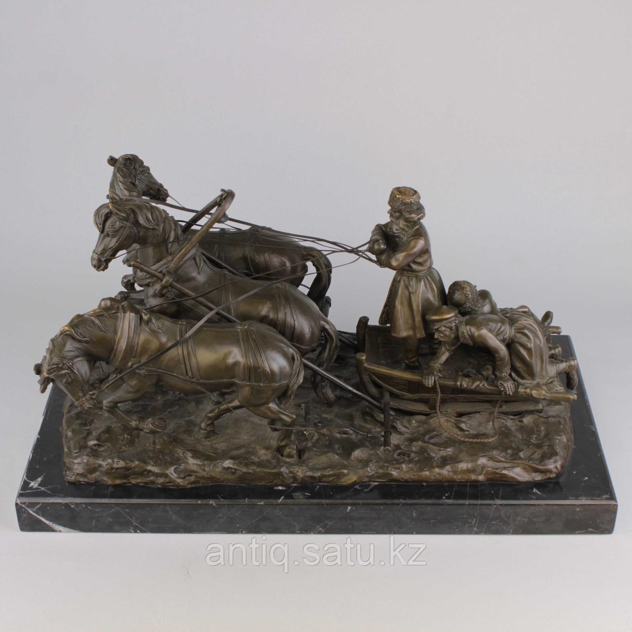 Солдаты на русской тройке. По модели известного скульптора Е. И. Напс (1848-1886) - фото 8