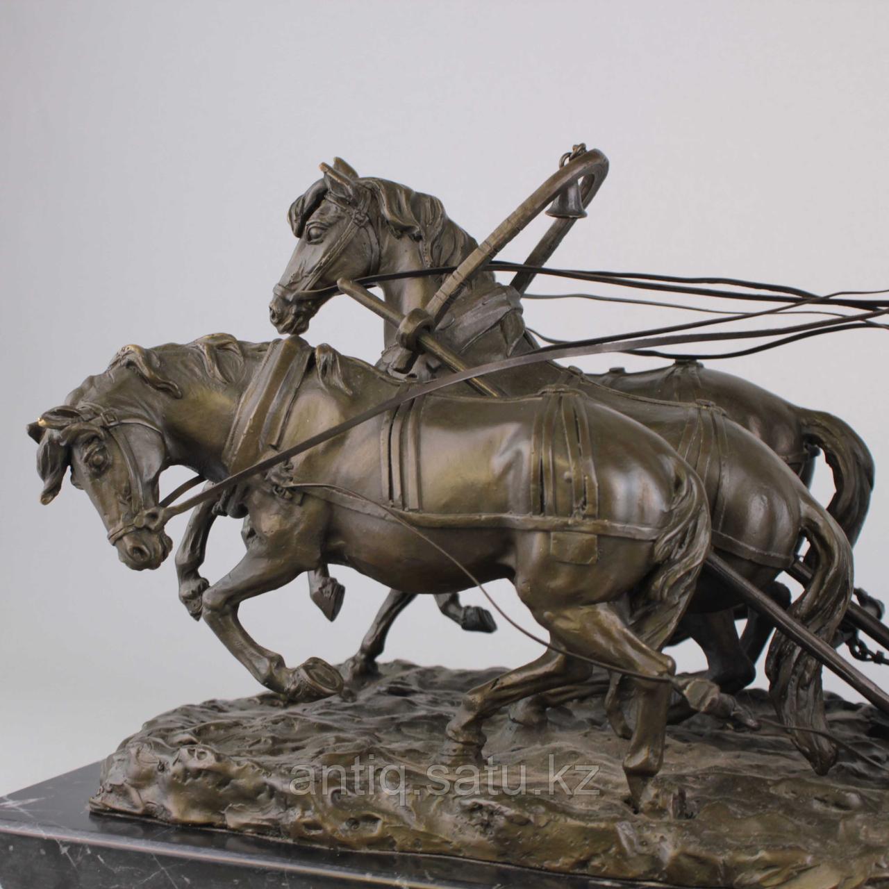 Солдаты на русской тройке. По модели известного скульптора Е. И. Напс (1848-1886) - фото 5
