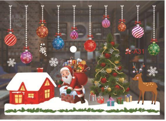 """Наклейка  """"Санта и новогодние шарики"""", цветные, на водной основе"""