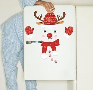 """Наклейка """"Новогодний олень"""", для холодильника или дверей"""