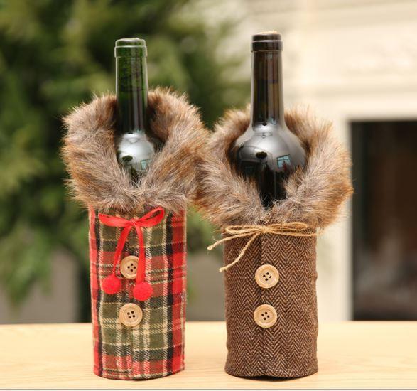 Новогодний чехол для бутылки, с мехом