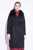 Пальто зимнее, 42-50, букле, песец, черное