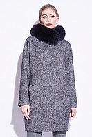 Пальто зимнее, 40-48, твид, песец, темно-синее