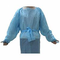 Медицинский халат / Gown Polyethylene, Blue,  Ties Closure Type, PK 100