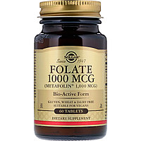Фолиевая кислота, 1000мкг, 60 таблеток, Солгар