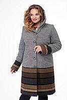 Женское осеннее драповое большого размера пальто БелЭльСтиль 765 серо-коричневый 46р.