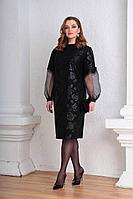 Женское осеннее кружевное черное нарядное большого размера платье Viola Style 0945 54р.