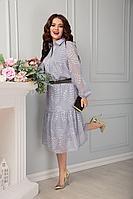 Женское осеннее шифоновое серое нарядное большого размера платье Anastasia 488 серый 48р.