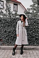 Женское осеннее драповое серое пальто AURA of the day 7002 серый 42р.