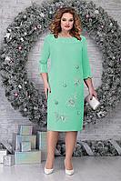 Женское осеннее зеленое нарядное большого размера платье Ninele 5809 светло-зеленый 56р.