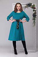Женское осеннее трикотажное большого размера платье Michel chic 2025 тёмно-голубой 52р.