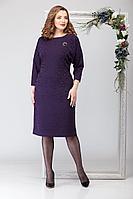 Женское осеннее трикотажное нарядное большого размера платье Michel chic 2028 тёмно-фиолетовый 50р.