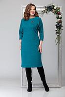 Женское осеннее трикотажное голубое нарядное большого размера платье Michel chic 2028 тёмно-голубой 50р.