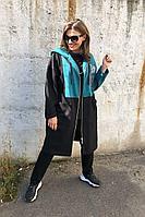 Женский осенний трикотажный спортивный большого размера спортивный костюм Runella 1435 бирюза 48р.
