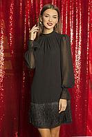 Женское осеннее черное нарядное платье ELLETTO LIFE 1807 черный 42р.