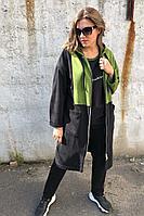 Женский осенний трикотажный спортивный большого размера спортивный костюм Runella 1435 зелень 48р.